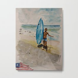 Surfing Boy in Liberia Metal Print