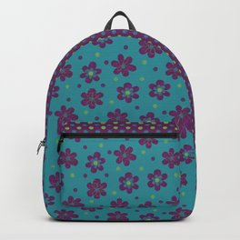 Doodle Dots Large Flower Pattern - Purple Green Teal Backpack