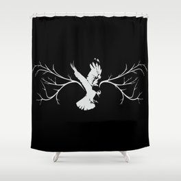 Jackdaw (white on black) Shower Curtain