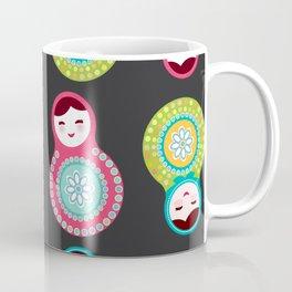 dolls matryoshka on black background, pink and blue colors Coffee Mug