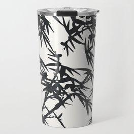 Trendy white black watercolor bamboo plant pattern Travel Mug