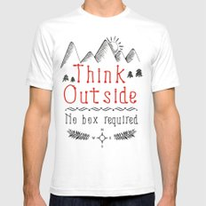 Think Outside - No Box Required Mens Fitted Tee White LARGE