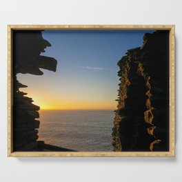 SUNSET AT TINTAGEL CASTLE CORNWALL Serving Tray