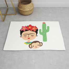 Frida Kahlo inspired illustration, with Monkey and Cactus Rug