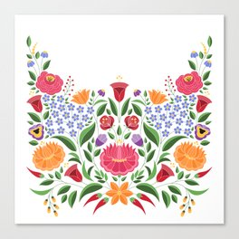 Hungarian folk pattern – Kalocsa embroidery flowers Canvas Print