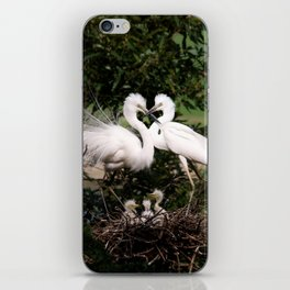 White Egret Family iPhone Skin