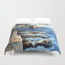 Walking with Steinbeck on Cannery Row Duvet Cover