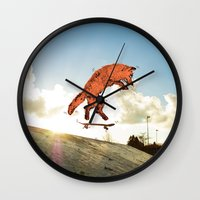 skateboard Wall Clocks featuring Skateboard FOX! by Jesse Robinson Williams
