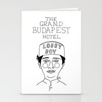 budapest hotel Stationery Cards featuring The Grand Budapest Hotel by ☿ cactei ☿