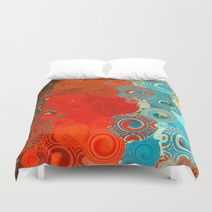 Turquoise and Red Swirls Bettbezug