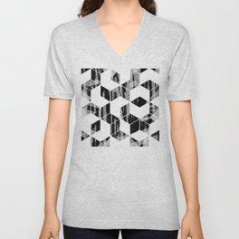 Elegant Black and White Geometric Design Unisex V-Neck