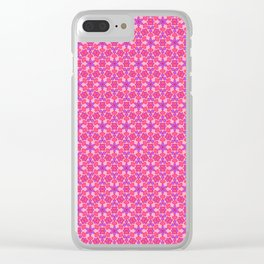 Purple Hearts Tiled Pattern Clear iPhone Case