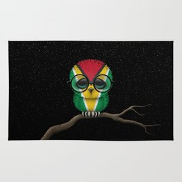 Baby Owl with Glasses and Guyanese Flag Rug