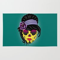 sugar skull Area & Throw Rugs featuring SUGAR SKULL by mark ashkenazi