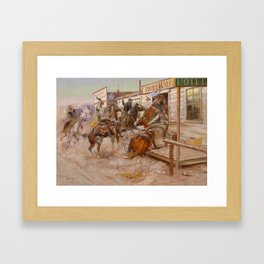 """""""In Without Knocking"""" by Charles M Russell Framed Art Print"""