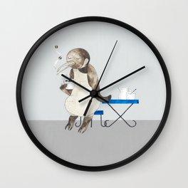 Penguin enjoys coffee Wall Clock