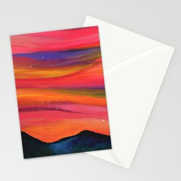 TWILIGHT SKY OVER MOURNE MOUNTAINS - Abstract Sky Oil Painting Stationery Cards