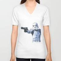 stormtrooper V-neck T-shirts featuring Stormtrooper by KristinMillerArt
