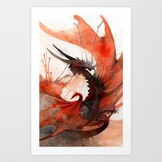 Ink Dragon Red Art Print