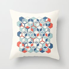Soft Red, White & Blue Hexagon Pattern Play Throw Pillow