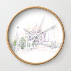 Watercolor landscape illustration_India - Taj Mahal Wall Clock