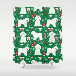 Bichon Frise Christmas dog breed pattern mittens stockings presents dog lover Shower Curtain