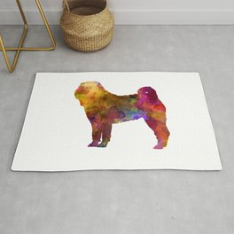 Shar Pei dog in watercolor Rug