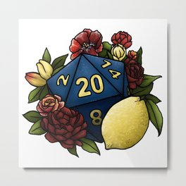 Marsala Lemon D20 Tabletop RPG Gaming Dice Metal Print