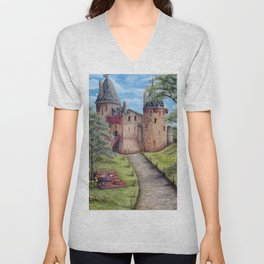 Castell Coch (Red Castle) - Spring Unisex V-Neck