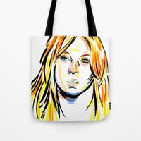 lindsay lohan Tote Bags featuring Lindsay by Allison K.