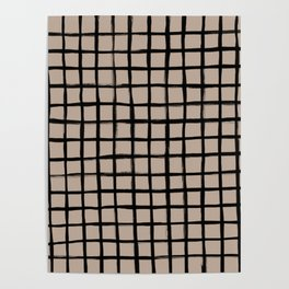 Strokes Grid - Black on Nude Poster