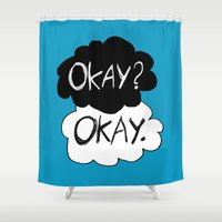 okay Shower Curtains featuring Okay? Okay.  by Tangerine-Tane