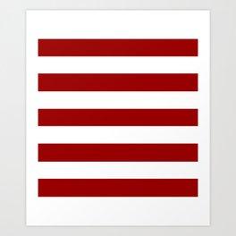 Crimson red - solid color - white stripes pattern Art Print