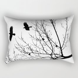 Crows Flying Birds in Tree Branches Black on White Rectangular Pillow