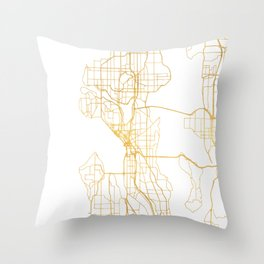 SEATTLE WASHINGTON CITY STREET MAP ART Throw Pillow