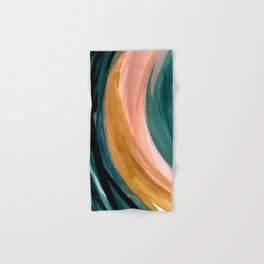Breathe: a vibrant bold abstract piece in greens, ochre, and pink Hand & Bath Towel