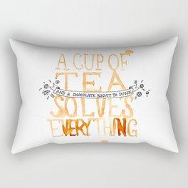 A Cup of Tea Solves Everything  Rectangular Pillow