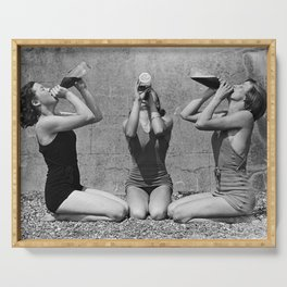 What the girls drink when the guys aren't looking - three girlfriends drinking at the beach black and white photograph Serving Tray