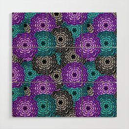 Dahlia Multicolored Floral Abstract Pattern Wood Wall Art