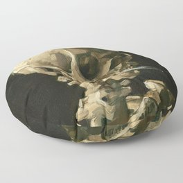 Skull of a Skeleton with Burning Cigarette by Vincent van Gogh Floor Pillow