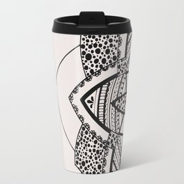 Almost black on white mandala Travel Mug