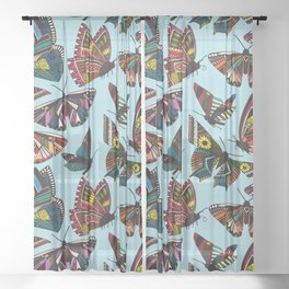 summer butterflies multi sky Sheer Curtain