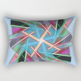Window Of Opportunity Abstract Blue With Border Rectangular Pillow