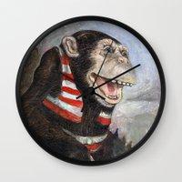 monty python Wall Clocks featuring Monty by hazael anaya