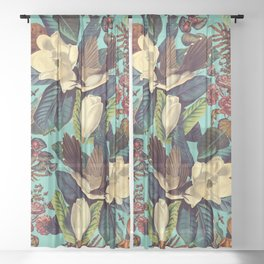 FLORAL AND BIRDS XXI Sheer Curtain