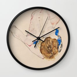 """Egon Schiele """"Nude with Blue Stockings, Bending Forward"""" Wall Clock"""