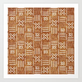 Mudcloth - tribal decor, mud cloth decor, mud cloth bedding, mudcloth curtains, rust, rust color, trendy decor Art Print