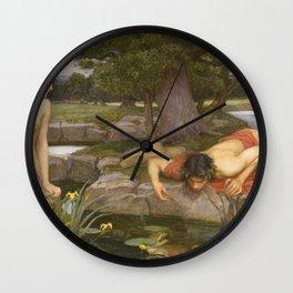 John William Waterhouse - Echo And Narcissus Wall Clock