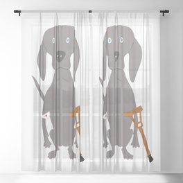 Wounded Weim Grey Ghost Weimaraner Dog Hand-painted Pet Drawing Sheer Curtain