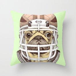 American Pug Football Yellow Throw Pillow
